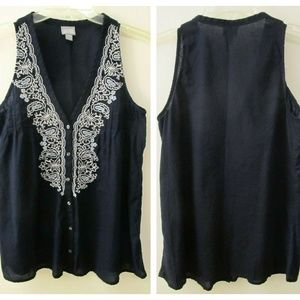 Converse Navy Blue Embroidered Sleeveless Tank Top